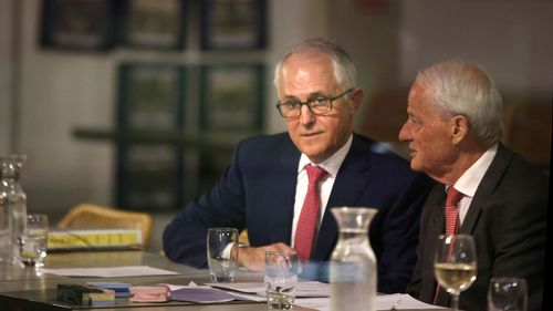 Malcolm Turnbull and Liberal Party stalwart Philip Ruddock at a Liberal branch meeting for the seat of Wentworth in August 2018.
