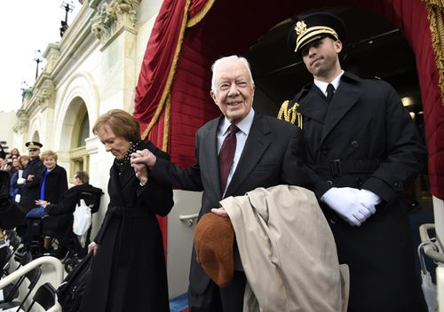 Former US President Jimmy Carter and First Lady Rosalynn Carter arrive for the Presidential Inauguration of Donald Trump at the US Capitol on January 20, 2017 in Washington, DC.