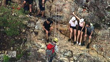 Emergency crews at Mount Tibrogargan.