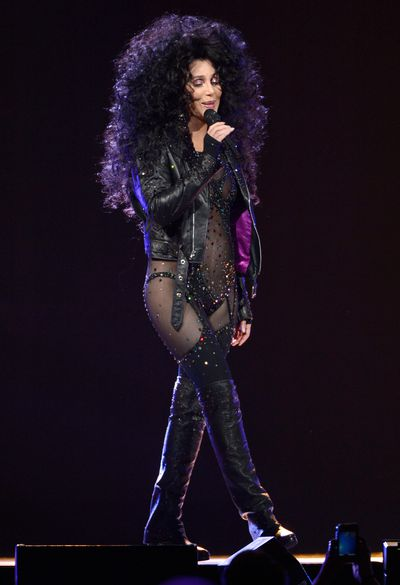 Cher rocks the same costume while performing at her 'Dressed To Kill' tour opener at US Airways Center on March 22, 2014 in Phoenix, Arizona.
