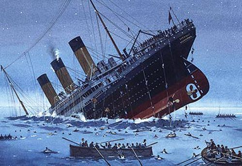 Painting of sinking of RMS Titanic.