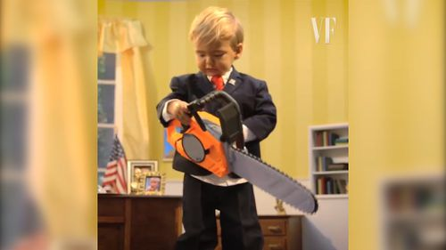 Toddler trump takes a chainsaw to the Oval Office.