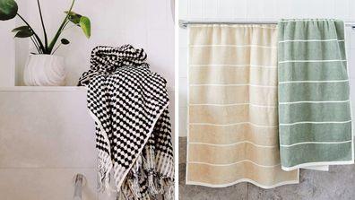Bath towels from The Block Shop and Adairs