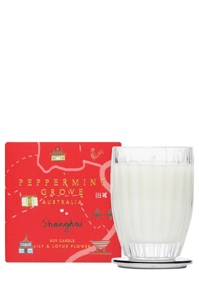 """<a href=""""http://www.myer.com.au/shop/mystore/home/home-fragrances/peppermint-grove-peppermint-grove-australia-shanghai-small-candle---60g"""" target=""""_blank"""">Peppermint Grove Australia Shanghai Lily and Lotus Flower Small Candle, $18.95.</a>"""