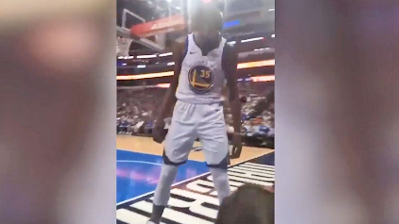 Kevin Durant confronts a fan