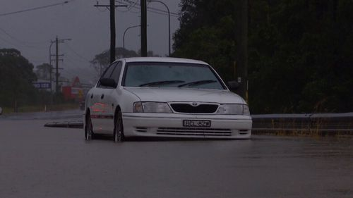 Heavy downpours yesterday of up to 200mm in areas saw roads covered in water and flash flooding spark quickly. Picture: 9NEWS.