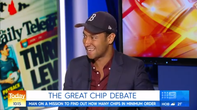 Matt Okine says he's solved the question, of how many chips are in a serve of 'minimum chips'.