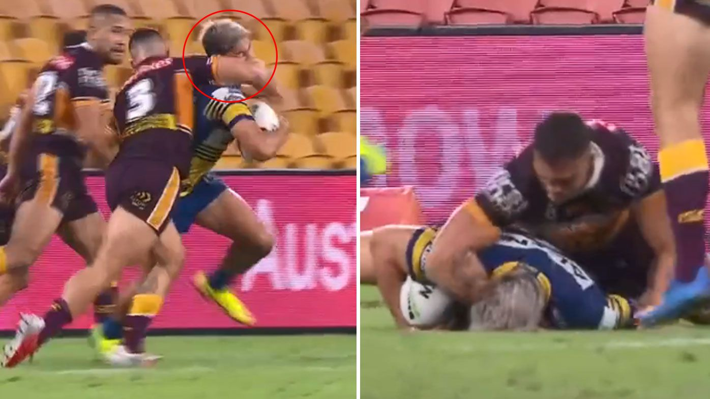 Brisbane Broncos star Kotoni Staggs facing ban over dangerous hit on Dylan Brown