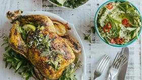 Roast piripiri chook with guacamole