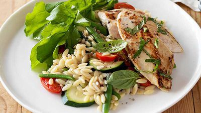 "Recipe: <a href=""http://kitchen.nine.com.au/2016/05/05/09/59/weight-watchers-basil-chicken-with-tomatoes-and-zucchini-risoni"" target=""_top"">Weight Watchers' basil chicken with tomatoes and zucchini risoni</a>"