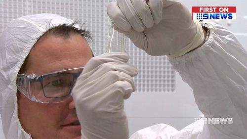 The breakthrough fabric uses silicone rubber technology, and contains thousands of sensors. Picture: 9NEWS