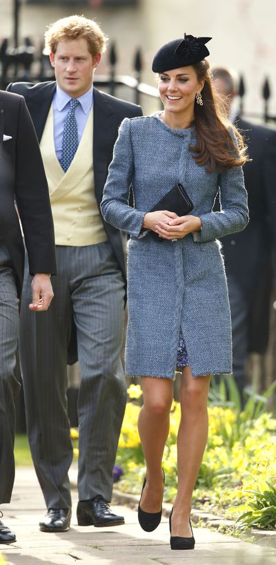 In March, 2014 Kate stunned in a smart powder blue coat from M Missoni and a Sylvia Fletcher headpiece at the wedding of Lucy Meade and Charlie Budgett in Chippenham, England.