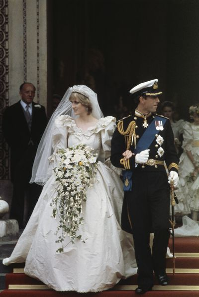 <p>Charles and Diana, Prince &amp; Princess of Wales, 1981<br> Dress: Emmanuel<br> <br> The ultimate fairytale wedding dress that ushered in an era of voluminous meringues and trailing trains.</p> <p>Hand-embroidery, sequins and 10,000 pearls decorated the gown along with antique Carricknacross lace, which had belonged to Queen Elizabeth's grandmother Queen Mary.<br> <br> </p>