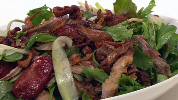 Chinese fragrant duck and roasted plum salad