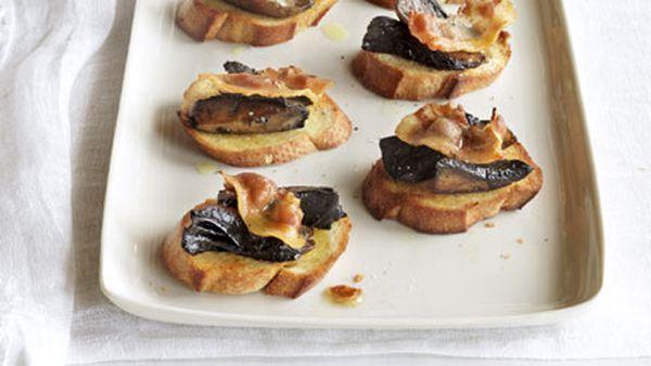 Grilled guanciale and mushroom bruschetta