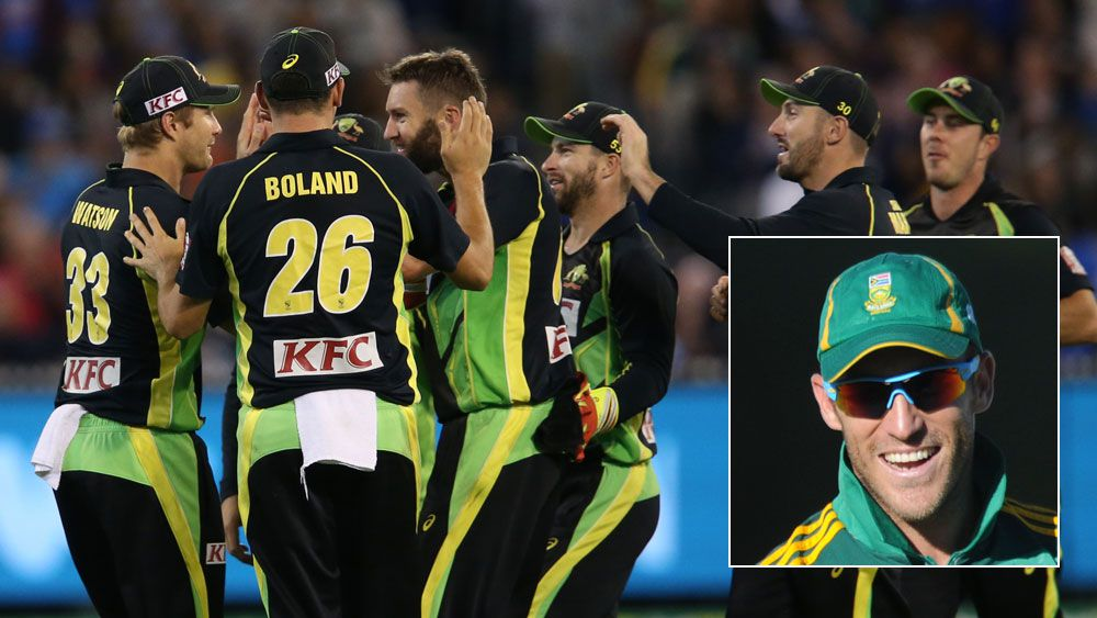 Aussie players celebrate a wicket in a T20 match and (inset) Faf du Plessis. (AAP)