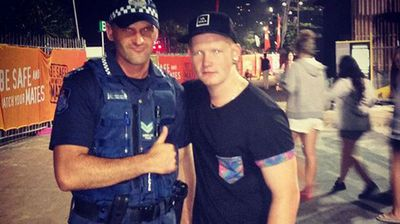 Even the police officer is getting into the party spirit. (Instagram: @stokerdylan)