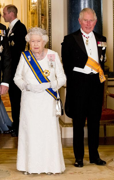 The Queen and Prince Charles at a banquet in 2018.