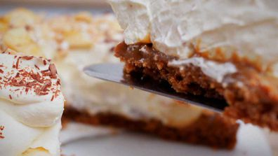 Classic caramel, cream and banana banoffee pie is always a winner