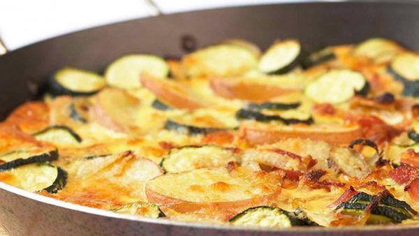 Zucchini and bacon frittata