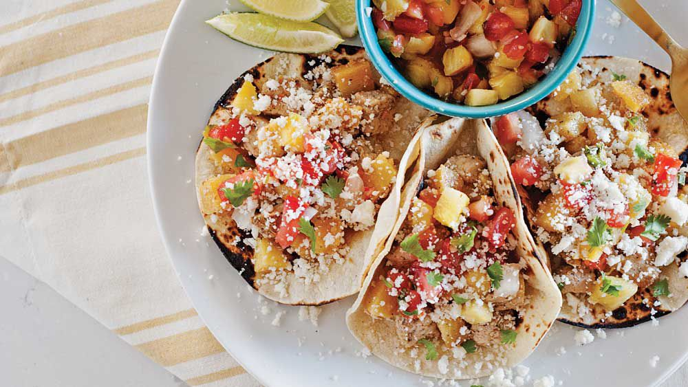 Quick Hawaiian pork tacos