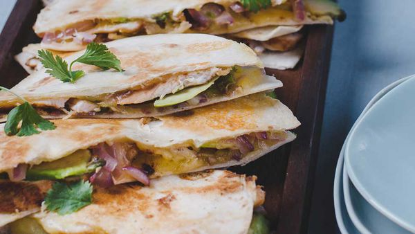 Merv Hughes' barbecued chicken and avocado quesadilla recipe