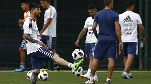 Lionel Messi during training. (AAP)