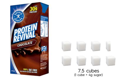 Aussie Bodies Protein Revival Chocolate: 30.1g sugar per 375ml carton