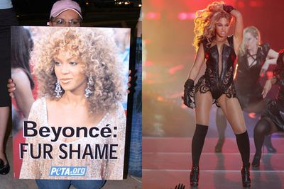 Beyonce has attracted widespread criticism for wearing fur and using endangered animal skins in her House of Dereon clothing line.<br/><br/>PETA (People for the Ethical Treatment of Animals) confronted the star at a fan dinner in 2006, but she had no comment. In November 2013, fans and activists slammed Bey for ordering a pair of custom-made trainers using anaconda, crocodile and stingray, while Jay Z's trainers contained elephant skin. Even her 2013 SuperBowl costume contained python, iguana and cow.<br/><br/>Images: Getty