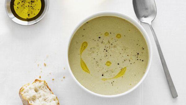 Creamed salt cod and roast garlic soup