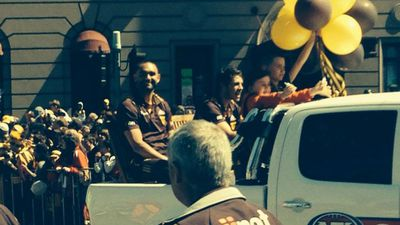 Shaun Burgoyne soaking up the atmosphere of his 5th parade. (9NEWS)