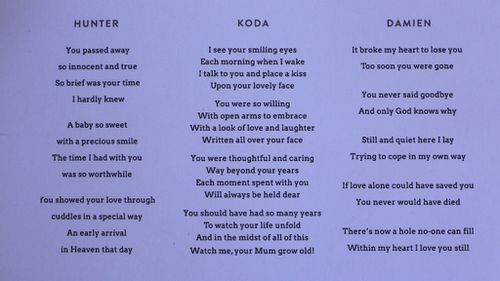 Mrs Little's poems to her husband and children. (AAP)