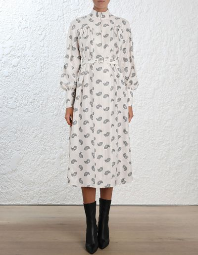 "<a href=""https://www.zimmermannwear.com/readytowear/clothing/dresses/maxi/whitewave-polo-silk-dress-pearl-stamp-paisley.html"" target=""_blank"" draggable=""false"">Zimmermann Whitewave Polo Silk Dress, $850</a>"