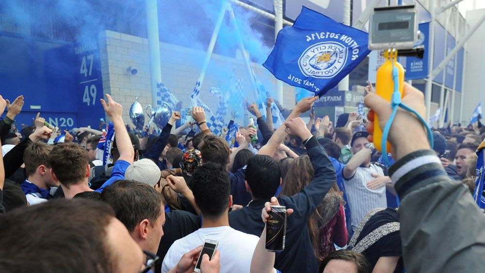Leicester fans partying too hard