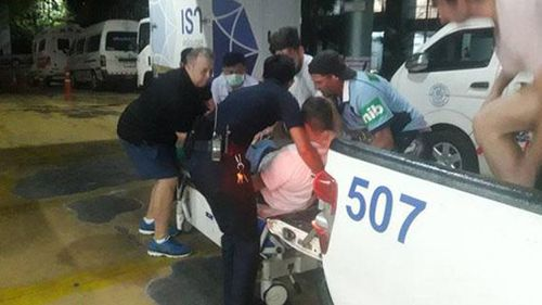 The 21-year-old was stabbed in the right side of the chest, local media reports. (Bangkok Post)