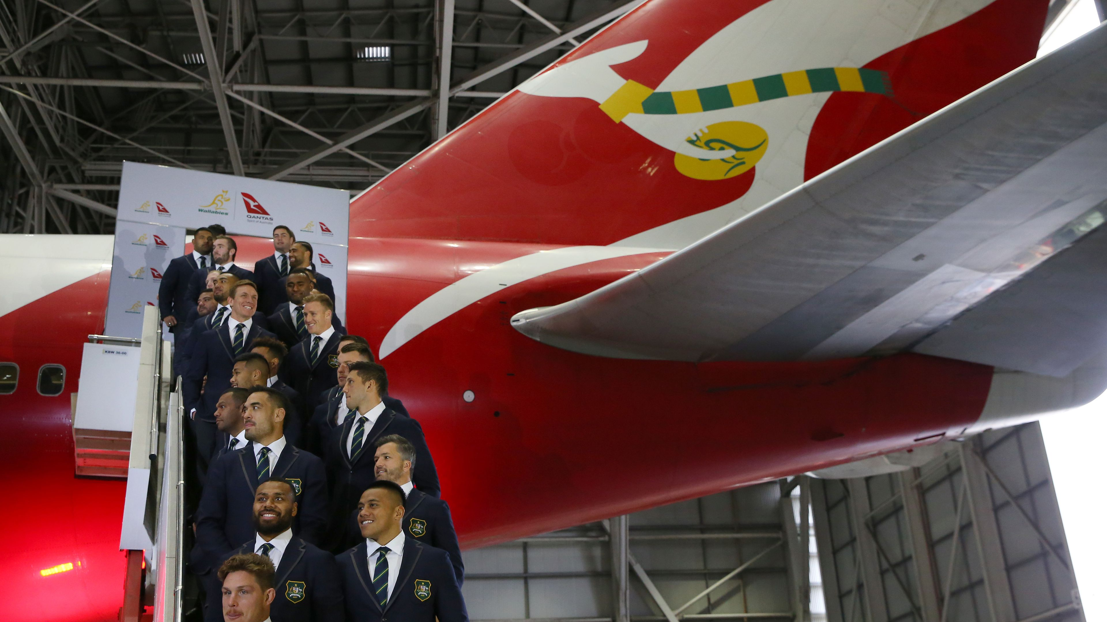 The Wallabies at a World Cup squad announcement hosted by Qantas.