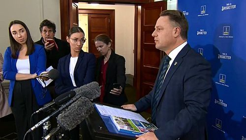 """Brisbane Mayor Adrian Scrinner today said the """"blue and green"""" budget, referencing his own party and a """"carbon neutral council"""", was the strongest infrastructure budget delivered in over a century."""