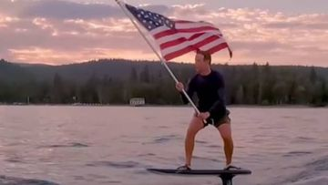 'Take Me Home': Mark Zuckerberg floats above a lake in a memorable July 4 Independence Day video.