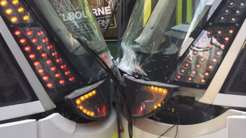 The two trams collided with each other outside Southern Cross Station in Melbourne. (Twitter)