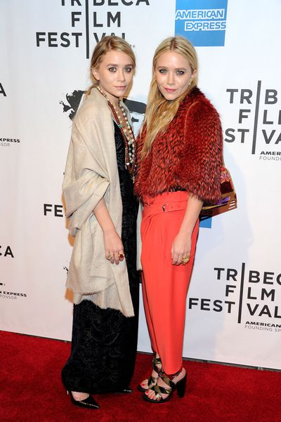 Ashley, in Prada, and Mary-Kate Olsen in Celine, at the opening night of the 2011 Tribeca Film Festival in New York, April, 2011