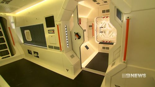 Mr Jaksch's car has been booted out of the garage to give the space craft some room. (9NEWS)