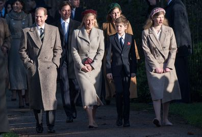 Prince Edward, Earl of Wessex and Sophie, Countess of Wessex with James Viscount Severn and Lady Louise Windsor  attend the Christmas Day Church service at Church of St Mary Magdalene on the Sandringham estate on December 25, 2019 in King's Lynn, United Kingdom.