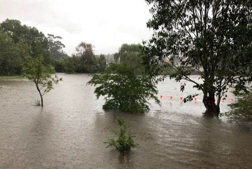 Wallsend, west of Newcastle was another town that was hit hard with the rain yesterday and faces the threat of further flooding today. Picture: @Teaghan_Wilson.