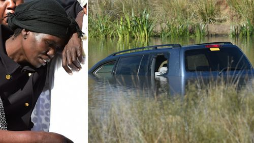 Akon Guode at the funeral of her children (left) and (right) the partially submerged Toyota Kluger. (AAP)