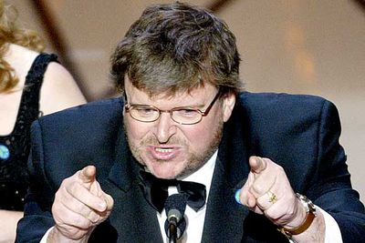 "<B>The Oscar:</B> Best Documentary Feature for <I>Bowling for Columbine</I>, at the 75th Academy Awards (2003).<br/><br/><B>The speech:</B> It wouldn't be a Michael Moore speech without political controversy. He used his win as an opportunity to condemn then-President Bush for the war on Iraq. Even the left-leaning Hollywood found the speech super-tacky, and Moore was heckled.<br/><br/><B>Best bit:</B> ""Shame on you, Mr Bush, shame on you."""