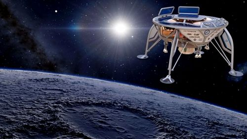 An artist impression of the Israeli space craft landing on the moon. (Image: SpaceIL).