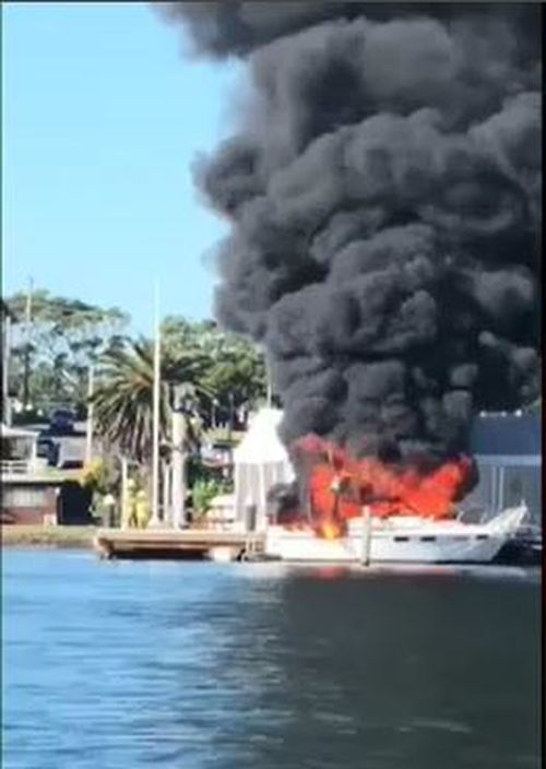 The vessel's 59-year-old occupant was taken to hospital in a serious condition with burns to his face and hands. Picture: 9NEWS.