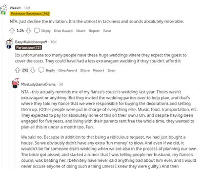 The wedding guest as asked Reddit followers for their advice.