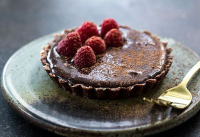 "Recipe: <a href=""https://kitchen.nine.com.au/2016/05/20/10/04/sneh-roys-raw-chocolate-tart"" target=""_top"">Sneh Roy's raw chocolate tart</a>"