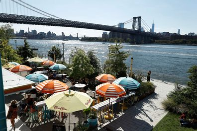 NEW YORK, NEW YORK - SEPTEMBER 04:  Tococina restaurant is seen on the promenade of the Williamsburg East River waterfront on September 04, 2021 in the Brooklyn borough of New York City. (Photo by John Lamparski/Getty Images)
